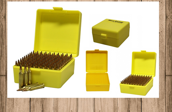 MAX-COMP AMMO BOX SML RIFLE 100RND YELLOW FITS .204, .222, .223