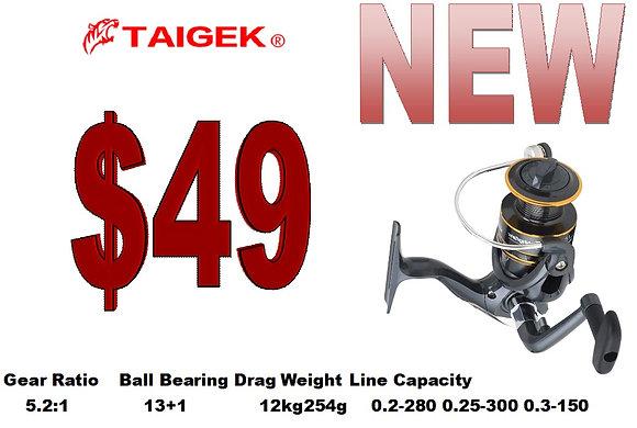 Taigek 3000 metal spool spinning reel 5.2:1 12kg max drag