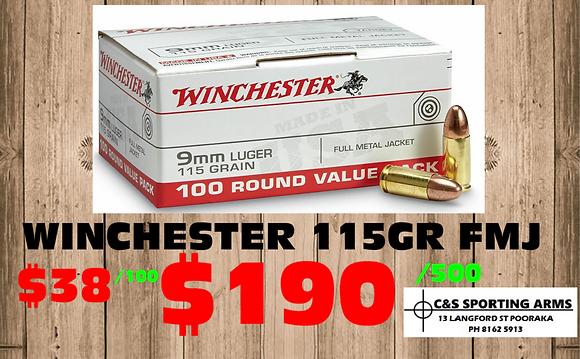WINCHESTER 115 GR FMJ 100 PACKS