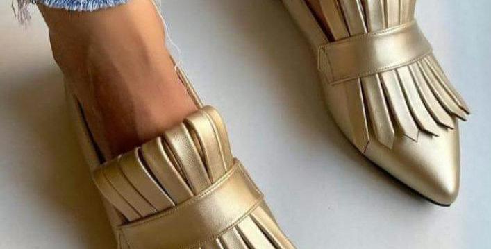 Golden Met Gala loafers