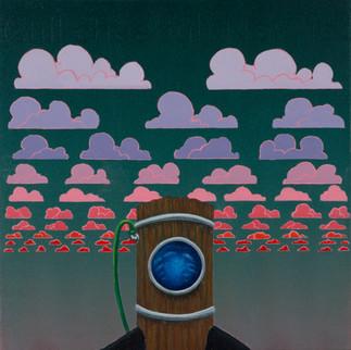 (still cheerful) Now loo, acrylic on wood panel, 13x13, $400