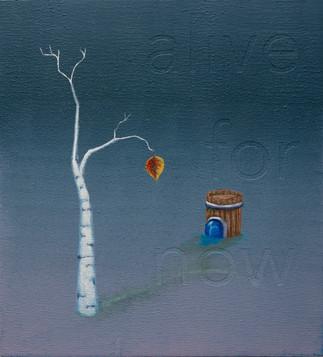 """alive for now"", acrylic on wood panel, 11x10, $400"