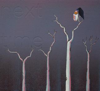 """next time"", acrylic on wood panel, 10x11, $400"