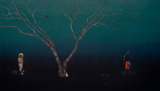 we are alive for now, acrylic on wood panel, 35x60, ~commissioned