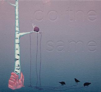 """""""do the same"""", acrylic on wood panel, 10x11, $400"""