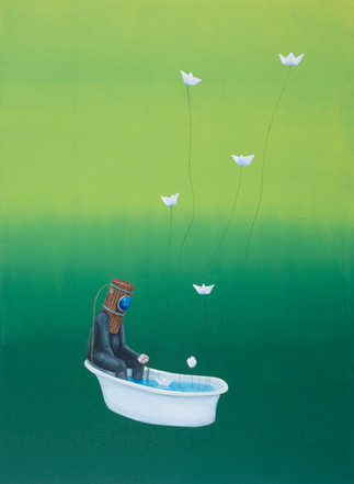 dreaming is hard, acrylic on wood panel, 30x22, $800