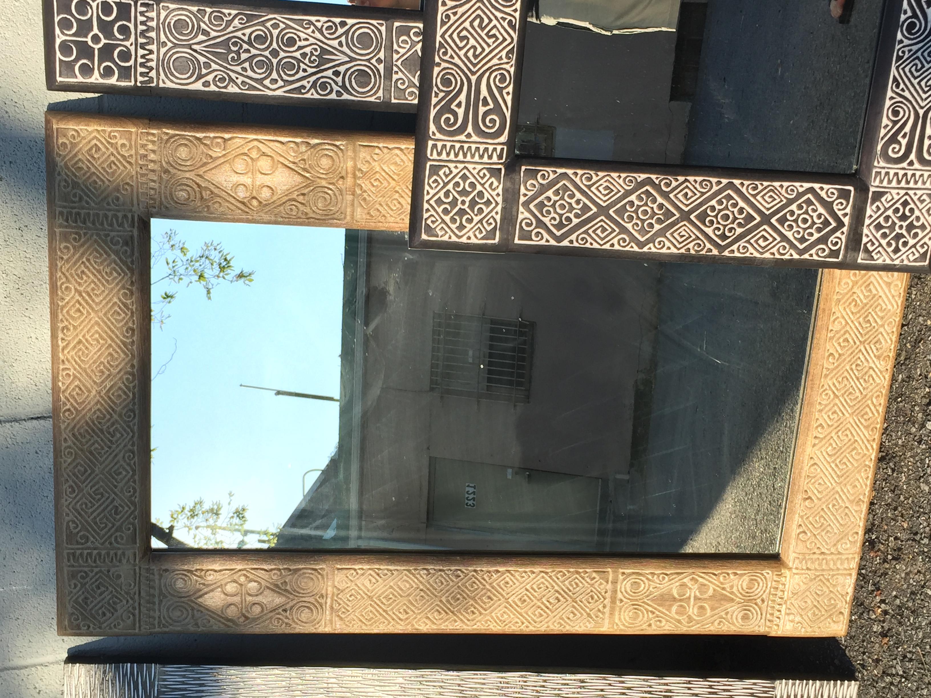 carved teak mirror