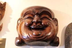 Smiling Buddha Mahogany Mask