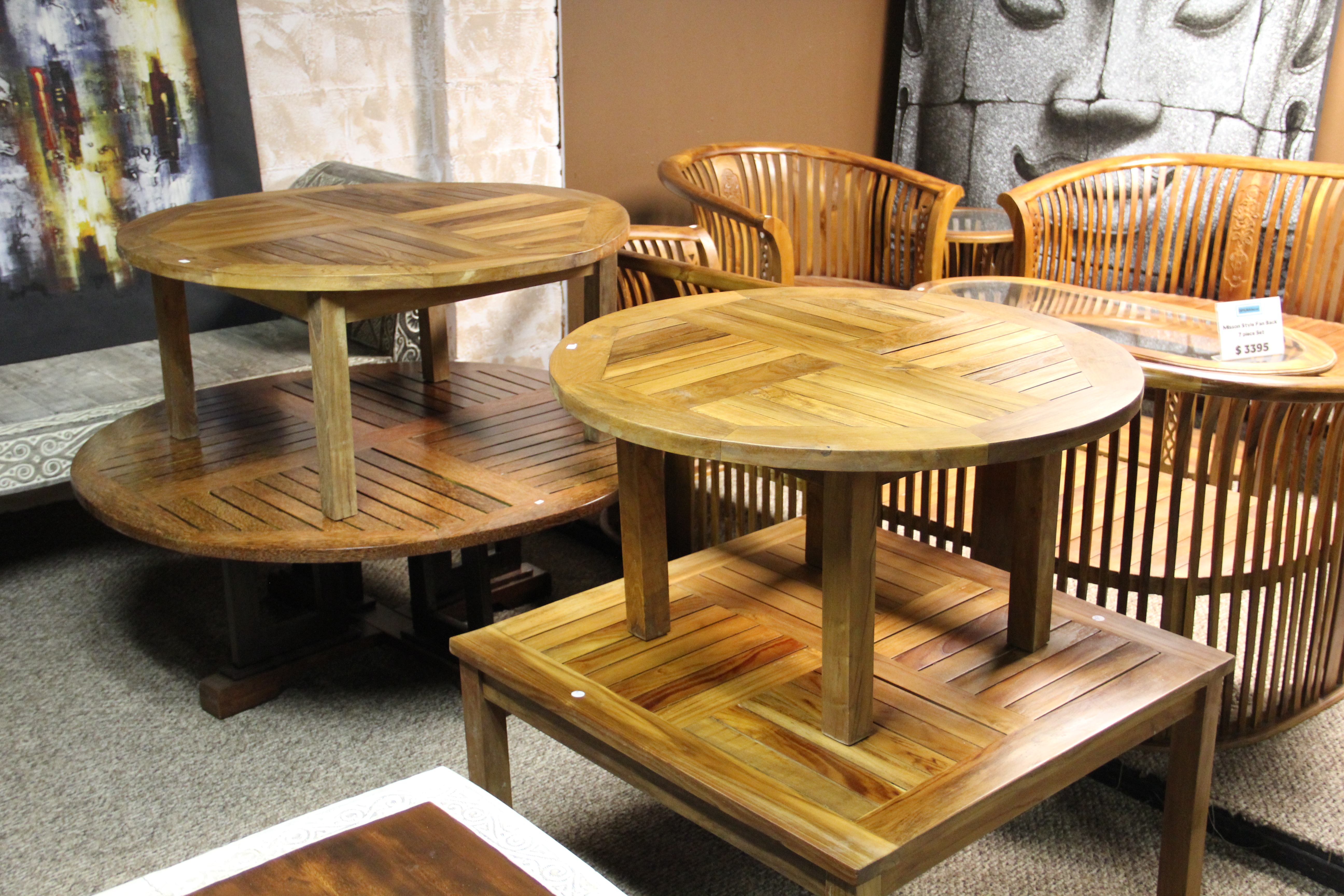 Coconut and Teak Coffee Tables