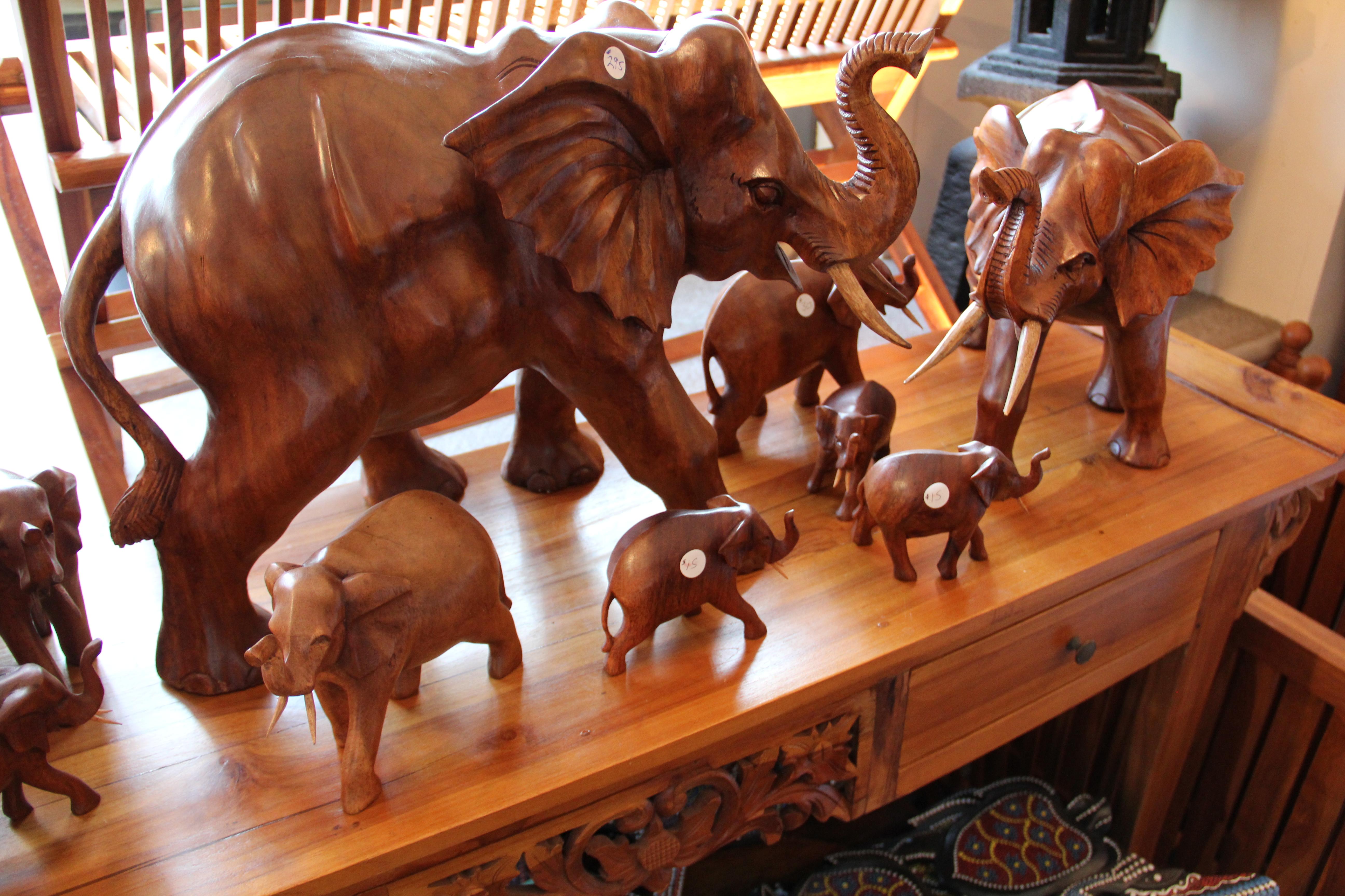Solid Teak Elephants
