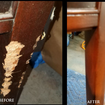 repair to chewed up chair leg
