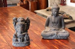 Lava Stone Buddha and Ganesh