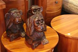 Solid Teak Monkey Trio