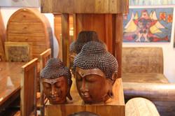 Buddha heads - Teak