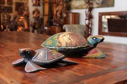 Hand painted wood turtles