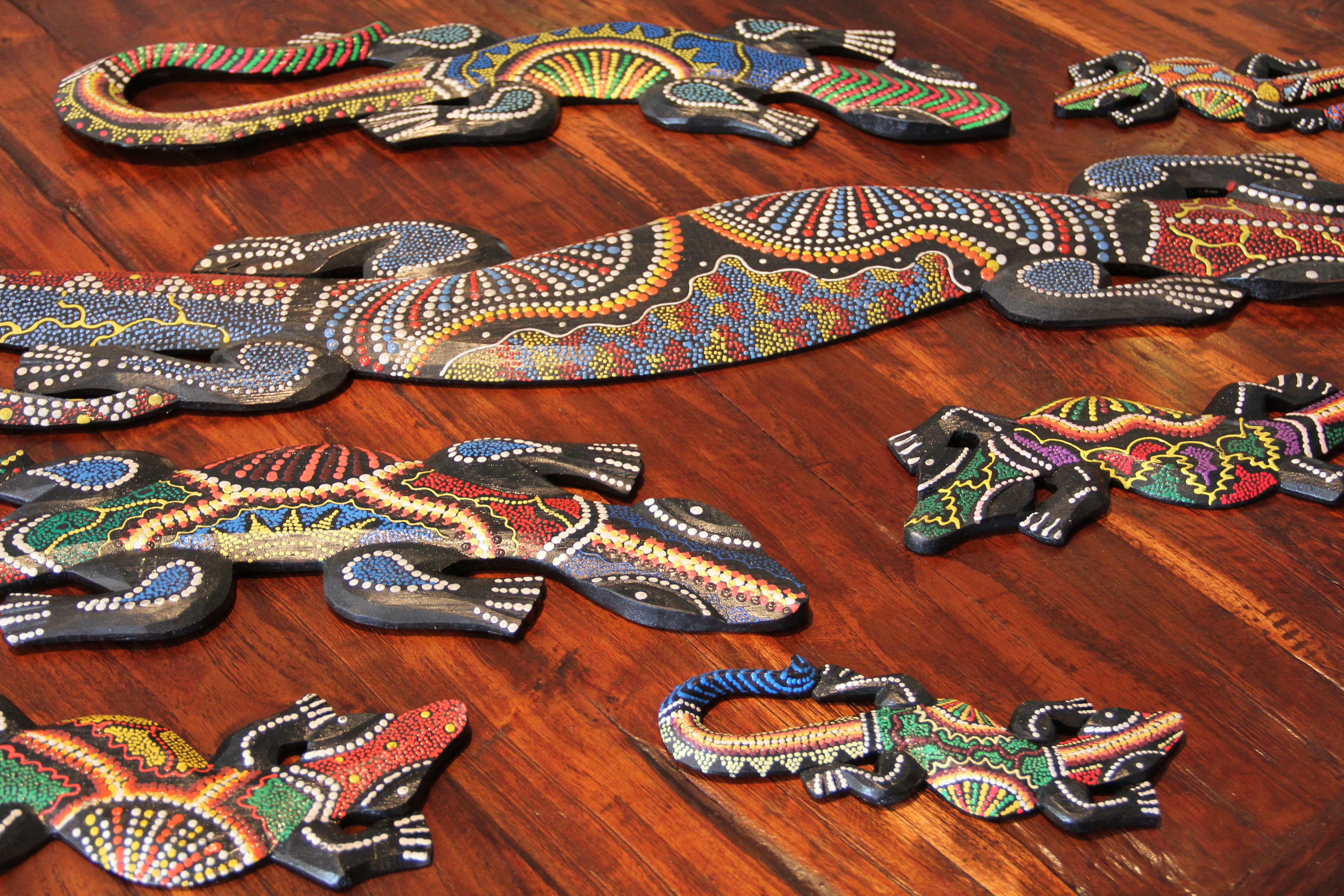 Colourful hand painted Lizards