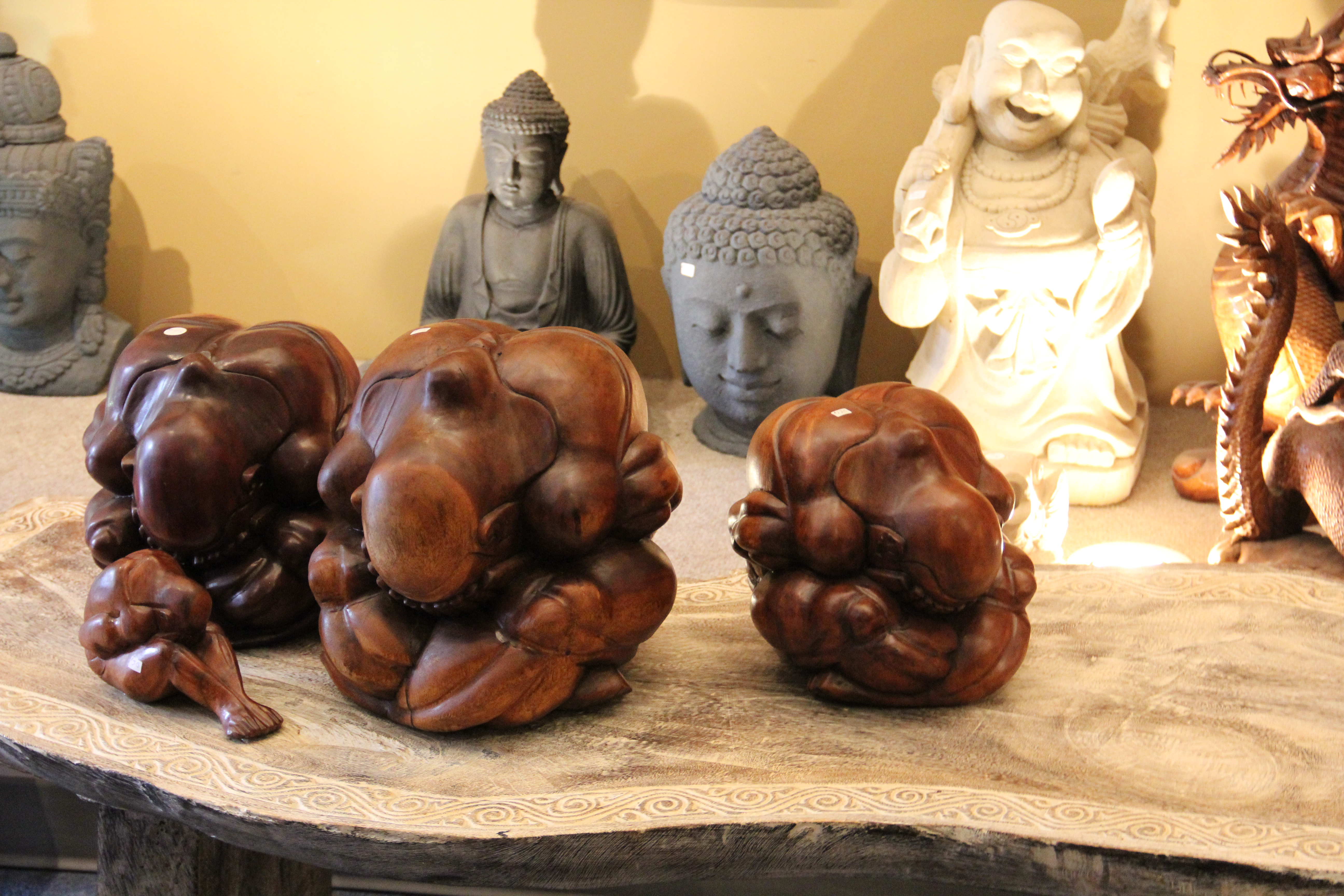 Solid Teak Carved Figures