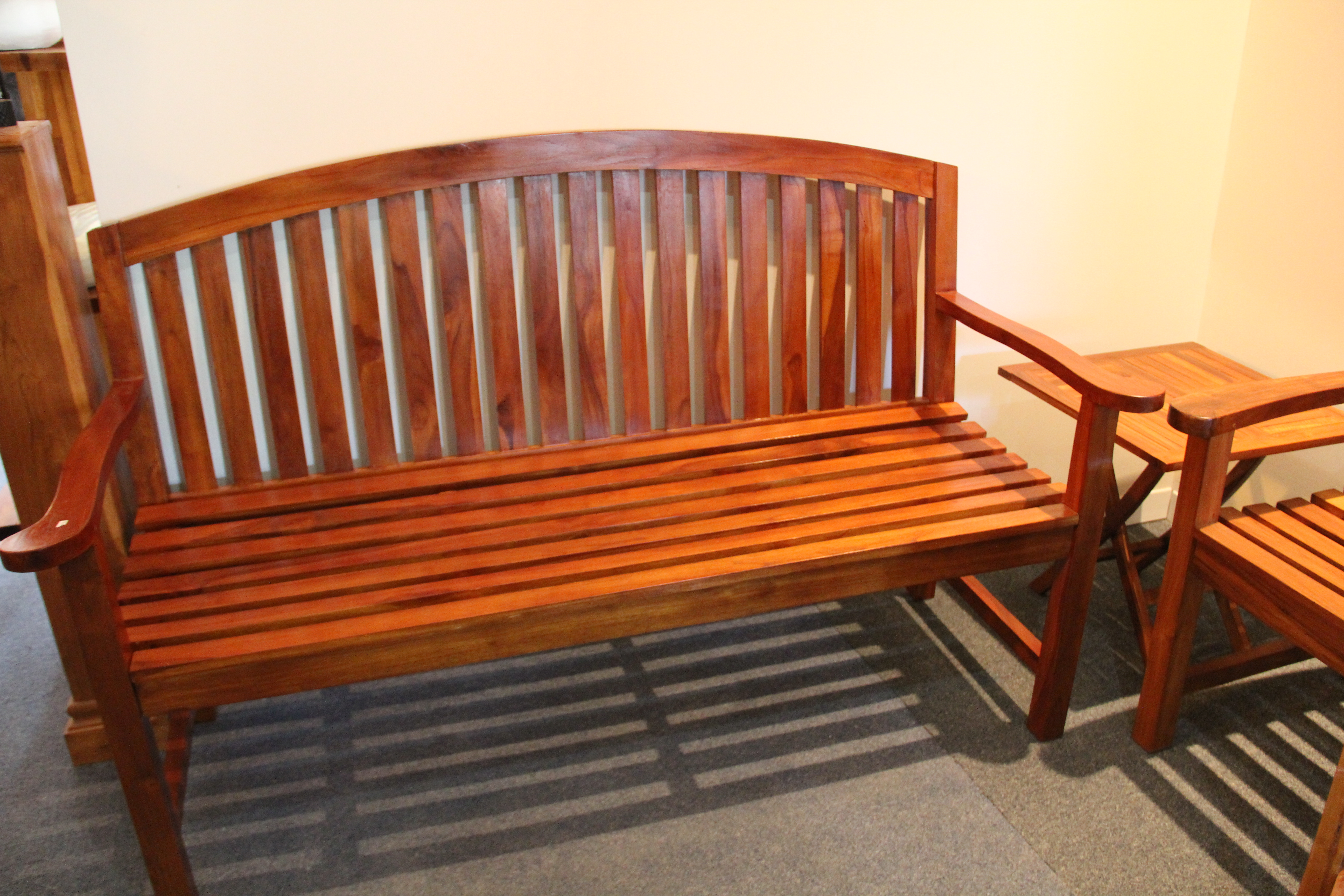 Solid Teak Bench, garden ready
