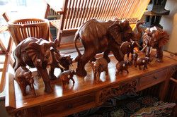 A selection of Teak Elephants