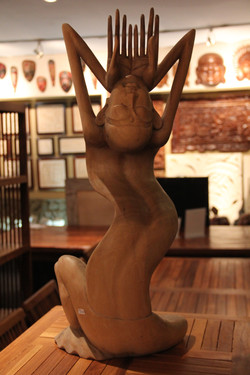 Solid Teak Abstract Carving