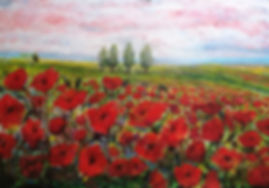 Poppies Oil and Acrylic 70x47.5cm Card x
