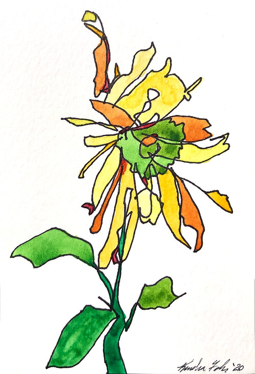Poetry Postcard -Blind Contour Sunflower