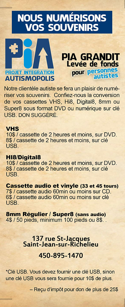 Service de numérisation 8mm, Hi8 et VHS dans le cadre d'un projet de préparation à l'emploi