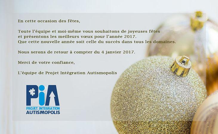 Carte de Noël pour les membres de l'organisme et toutes les personnes qui présentent un trouble du spectre de l'autisme