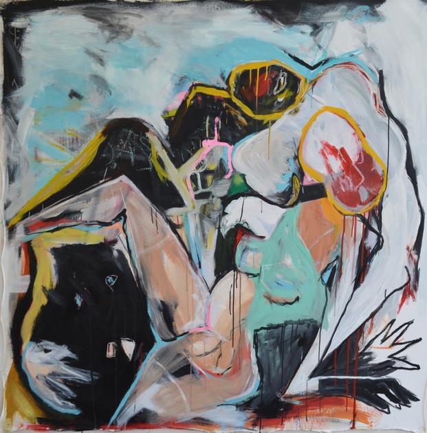 lovers (technique mixte sur toile 145x145cm) 2020