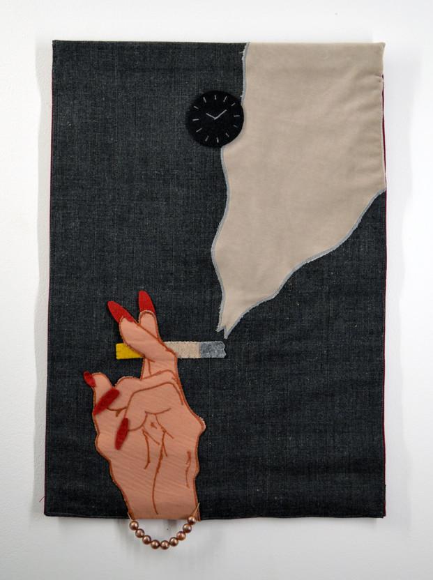 l'attente. tissu 43x59cm 2014