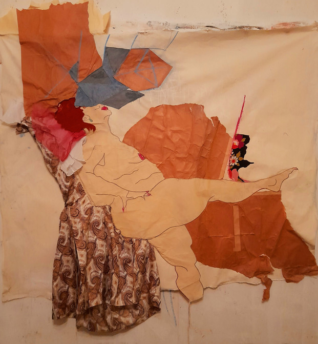 Naked woman (tissu/papier) 150x150cm 2021