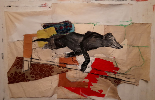 Gladys sur le canap (tissu papier acrylic 160x110cm, 02/2021)
