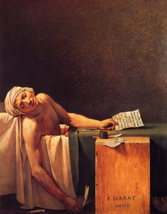 Jacques Louis David,  The Death of Marat Marat assassiné) 1793