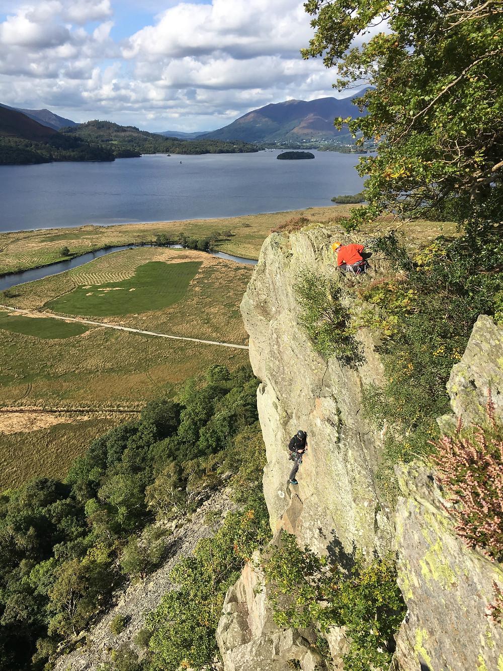 Rock climbing in Borrowdale for work!