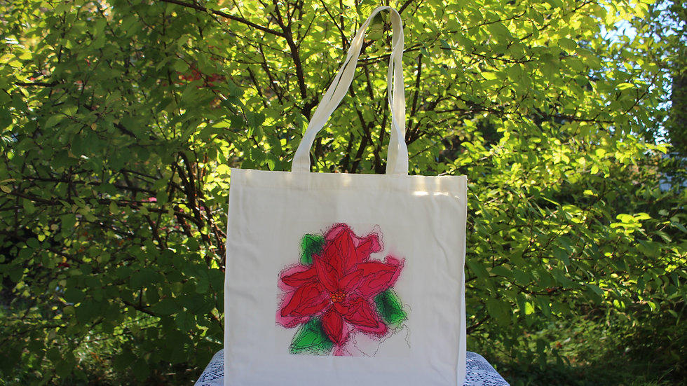 Canvas Tote Bag - Poinsetta