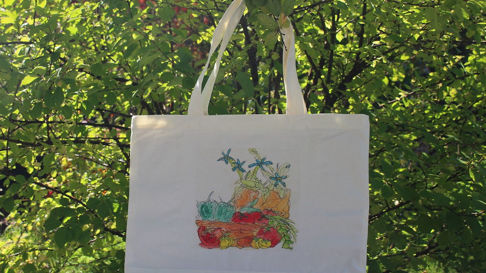 Large Canvas Tote Bag - Vegetable Delights