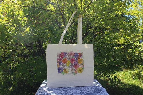 Canvas Tote Bag - Explosion of Zinnias