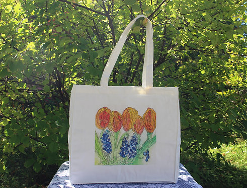Canvas Tote Bag - Tulips and Muscari