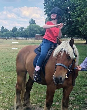 Girl with NAA10 syndrome Horse riding
