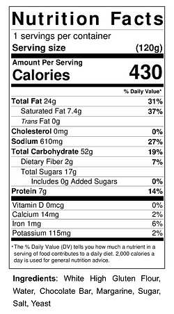 Nutrition Fact - Vegan Chocolate Croissa