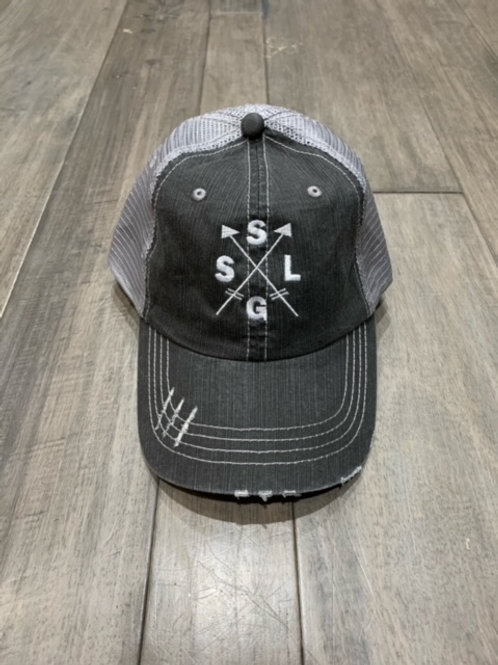 SLSG arrow distressed hat