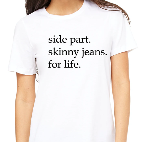 Side part & skinny jeans