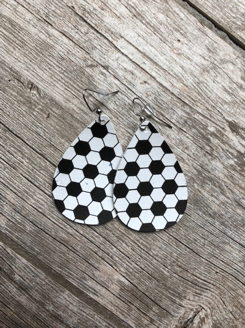 Soccer leather earrings