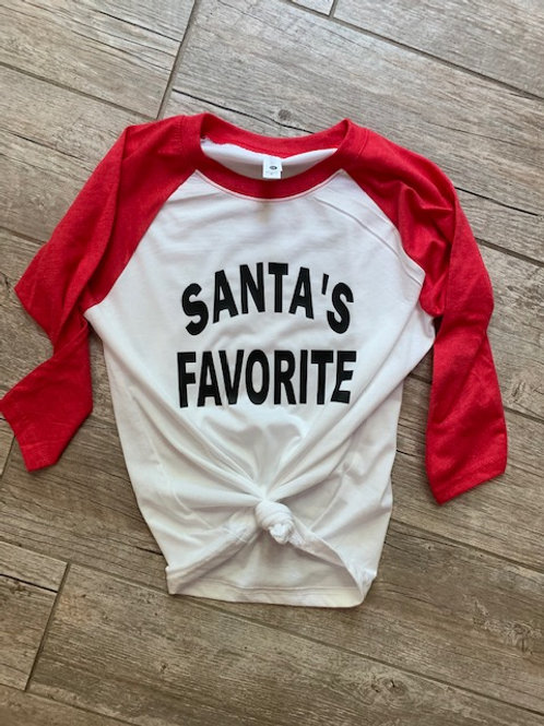 Santa's Favorite Youth Raglan