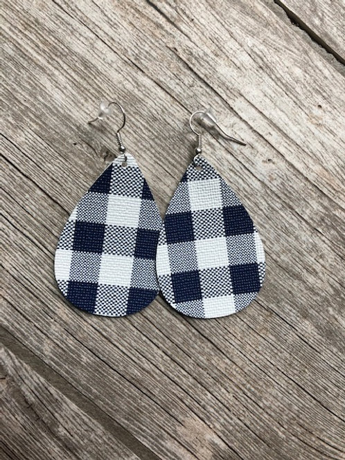 Navy/white buffalo plaid earrings