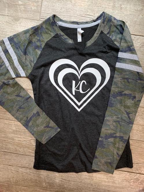 Womens long sleeve KC heart camo