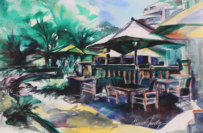 "Sunny San-Antonio Riverwalk  (Watercolor, 26.25"" x 34.25"")"