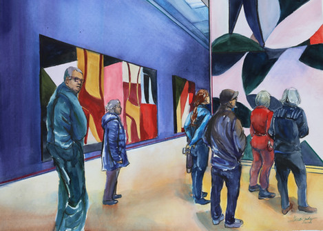 """Artists Viewing Art Or Artist (watercolor with Watersoluble-Pencil) (25.75"""" x 34"""")"""