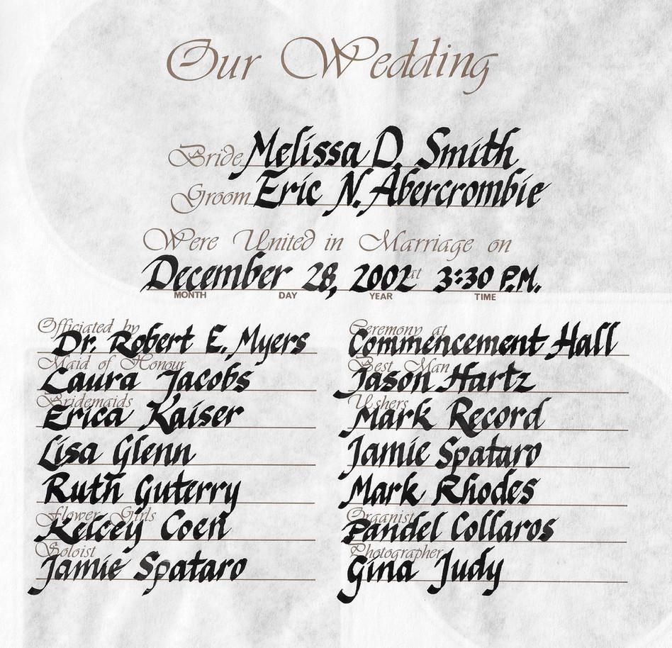 Wedding Calligraphy Sample Page