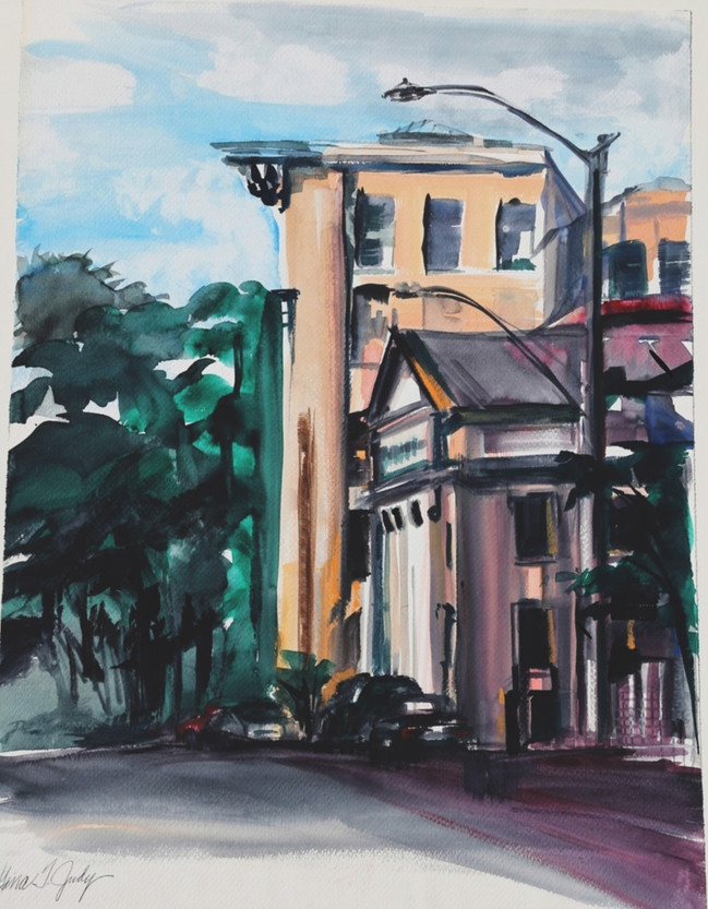 "Evening Light Up Market-Street, Wheeling (watercolor, 34.25"" x 25.75"")"